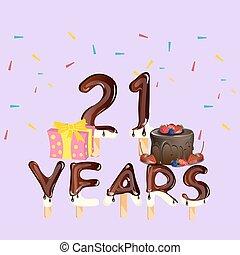21 , αριθμόs , χαιρετισμός , γενέθλια αγγελία , ευτυχισμένος