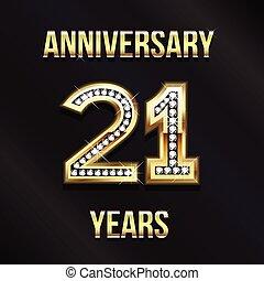 21, 년, 기념일, 로고