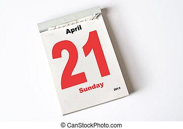 21. April 2013 - calendar sheet