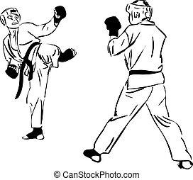21, caratê, kyokushinkai, esboço, artes marciais, e,...