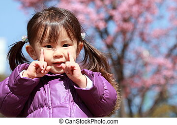 21, cerise, japonaise, années, fleurs, old), girl