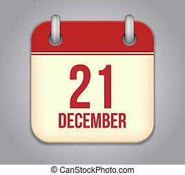 21, december, app, vektor, icon., kalender