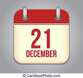 21, dezembro, app, vetorial, icon., calendário