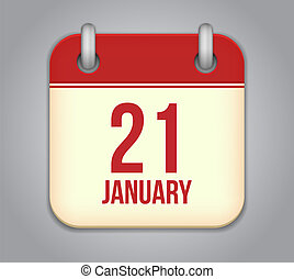 21, januari, app, vector, icon., kalender