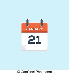 21., januari, kalender, vector, illustratie