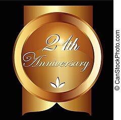 21, jaren, jubileum, groet, card., goud, vector, ontwerp