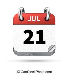 21, juli, isoleret, realistiske, klar, dato, hvid, kalender,...