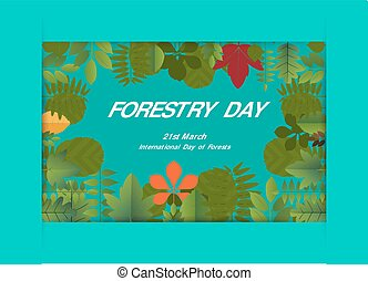 21, mars, illustration., leaf., skogsbruk, vektor, design, baner, dag