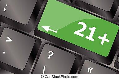 21 plus button on computer keyboard keys. Keyboard keys icon button vector