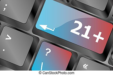 21 plus button on computer keyboard keys . keyboard keys. vector illustration
