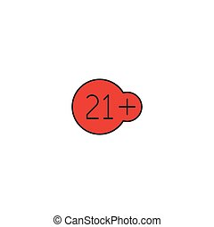 21 plus years old sign vector icon symbol isolated on white background