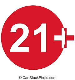 21+ restriction flat sign isolated in red circle. Age limit symbol. No under twenty one years warning illustration