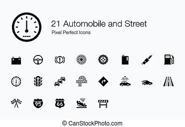21, samochód, i, ulica, ikony