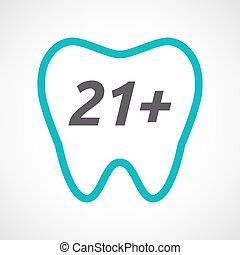21+, testo, dente, isolato