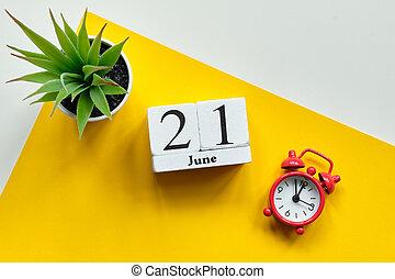 21 twenty first day june Month Calendar Concept on Wooden Blocks.