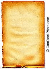 #21, vieux, lambeaux, edge., papier, white., textured