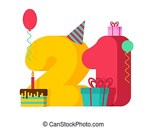 21 year Birthday sign. 21th Template greeting card anniversary celebration. twenty-one number and festive piece of cake with candle. Balloon and Gift box.