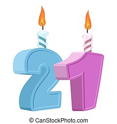 21 Years Birthday Number With Festive Candle For Holiday Cake Twenty One Anniversary