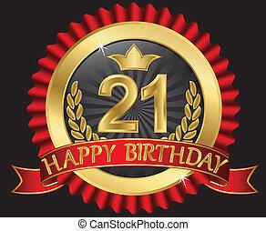 grattis på 21 årsdagen 70 years happy birthday golden label with ribbons. grattis på 21 årsdagen