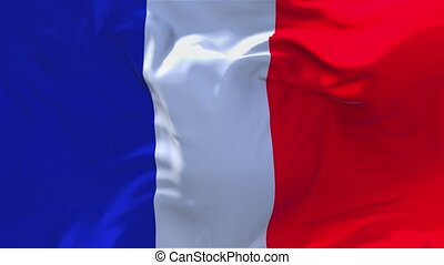 212. France Flag Waving in Wind Continuous Seamless Loop Background.