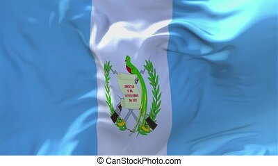 214. Guatemala Flag Waving in Wind Slow Motion Animation . 4K Realistic Fabric Texture Flag Smooth Blowing on a windy day Continuous Seamless Loop Background.
