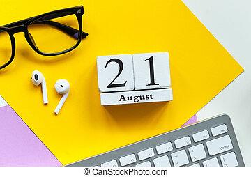 21st august - twenty first day month calendar concept on wooden blocks.