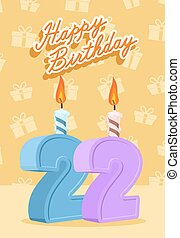 22, 22nd, anos, celebração aniversário, feliz