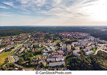 22, agosto, panorama, polônia, -, 2019:, subúrbios, gdynia,...