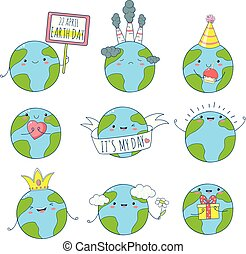 Set of cute Earth icons in kawaii style
