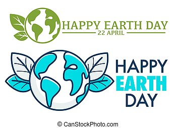 22, aprile, felice, giorno terra, logotipo, o, augurio,...