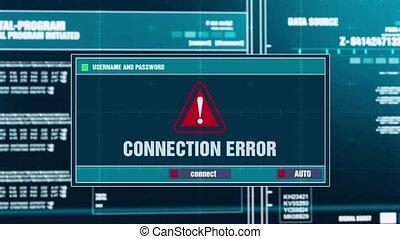 22. Connection Error Warning Notification on Digital Security Alert on Screen.