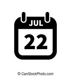 22, enkel, juli, isoleret, sort, dato, hvid, kalender, ikon
