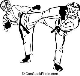 22, karate, kyokushinkai, bosquejo, artes marciales, y,...
