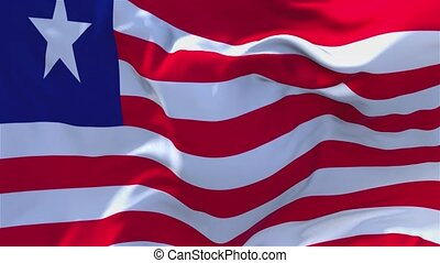 22. Liberia Flag Waving in Wind Continuous Seamless Loop Background.