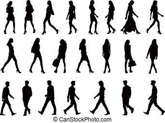 22 people silhouettes collection
