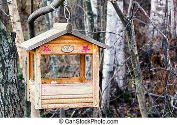 22, petersburg, inverno, 2018::, casa, st., -, pássaro, forma, floresta, ramo, novembro, alimentador, rússia