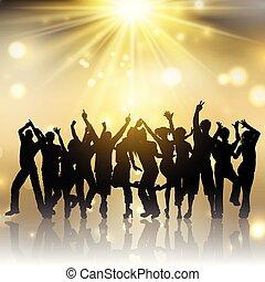 2201, oro, persone, starburst, fondo, festa