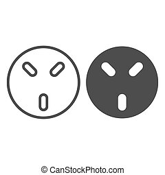 220V Socket line and solid icon, Electric car concept, Universal Wall Socket sign on white background, UK 220 volt three pin socket icon in outline style for mobile and web design. Vector graphics.