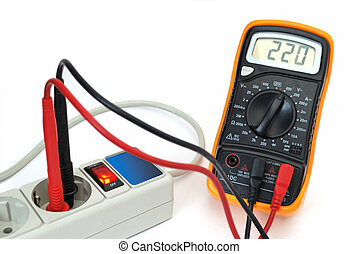 220v voltage on display of multimeter. Image isolated on...