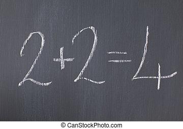"""""""2+2=4"""", tafel, geschrieben, ihm"""