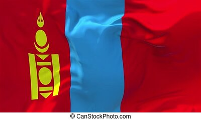 225. Mongolia Flag Waving in Wind Continuous Seamless Loop Background.