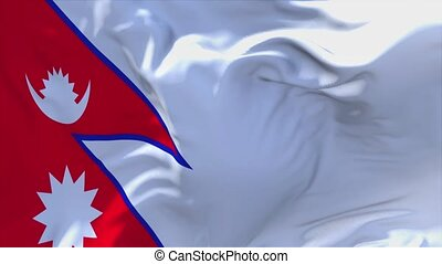 227. Nepal Flag Waving in Wind Continuous Seamless Loop Background.
