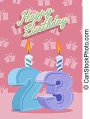 grattis på 23 årsdagen 33, år, 33nd, födelsedag firande, lycklig. 33, illustration, år  grattis på 23 årsdagen