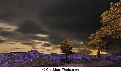23 3D animated landscape of stormy sunset on mountain
