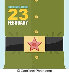 23 February. Soldiers belt buckle with a star. Military clothing. Soldier green tunic.