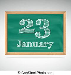 23, inscrição, quadro-negro, giz, janeiro