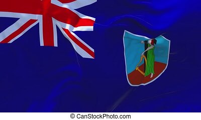 23. Montserrat Flag Waving in Wind Continuous Seamless Loop Background.
