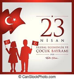 23 nisan cocuk bayrami vector illustration. (23 April,...