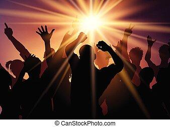 2308, sunburst, bakgrund, folkmassa, parti