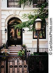 23rd, δρόμοs , chelsea , σπίτι στην πόλη , york., καινούργιος , κατά μήκος , είδος κοκτέιλ